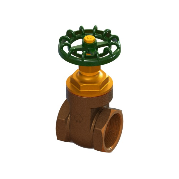 Bronze full-bore gate valve PN25 with handwheel FEMALE-FEMALE