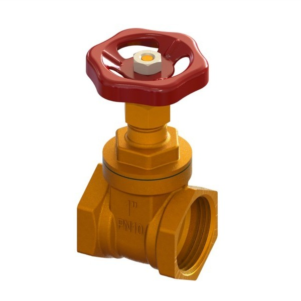 Brass full-bore gate valve PN10 with handwheel FEMALE-FEMALE