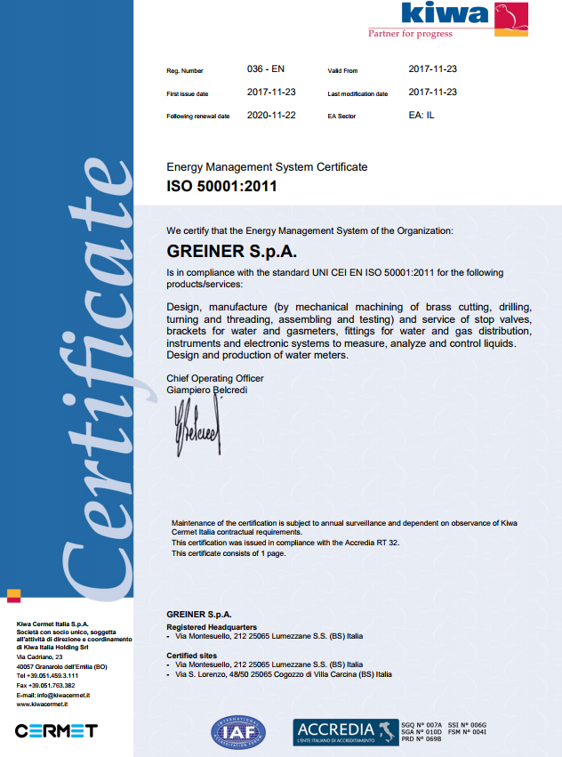 Integrated management system ISO 9001, 14001 and 50001